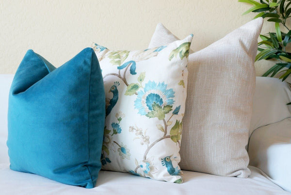 Teal Blue Peacock Pillow Cover Set