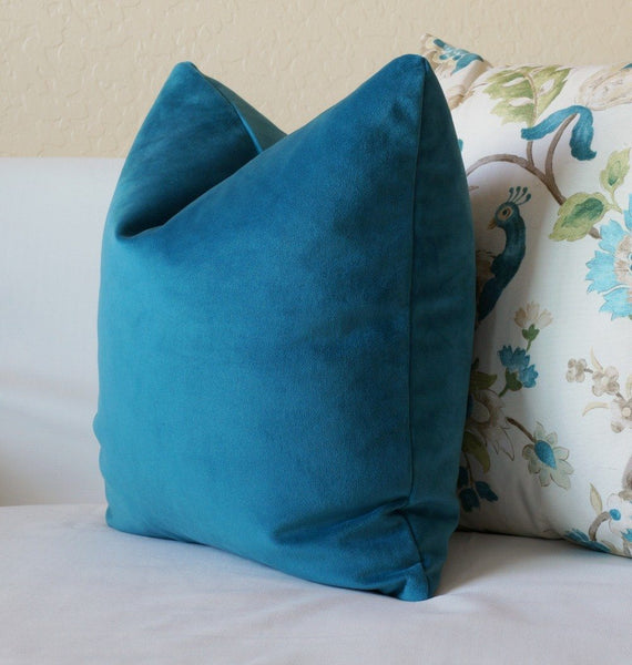 Teal Blue Velvet Pillow Cover