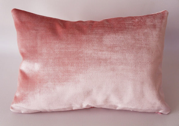 Pink Velvet Lumbar Pillow Cover