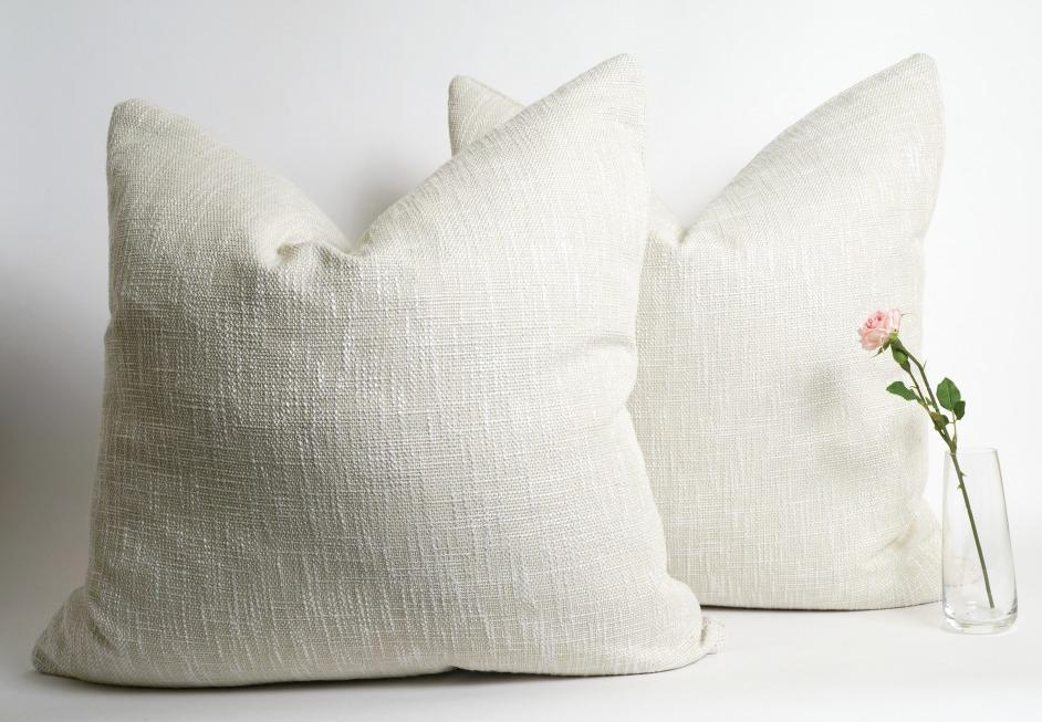 Shiny off white linen pillow cover