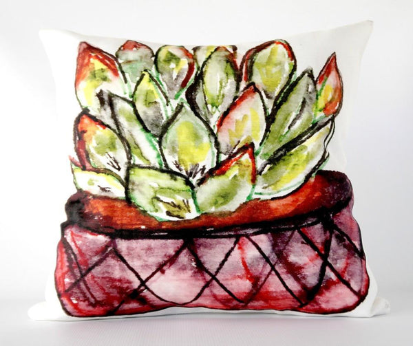 @Local Trade 16x16 Pillow Succulent Cactus Art