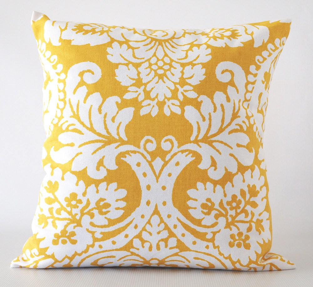 Yellow pillow cover damask pattern
