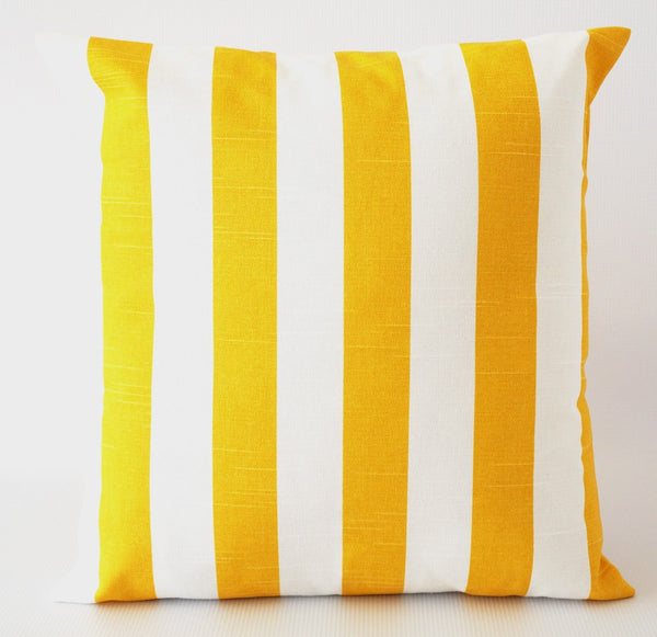 Yellow pillow cover corn yellow striped