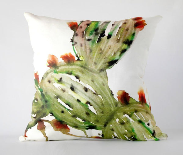 16x16 Prickly Pear Cactus Art Pillow