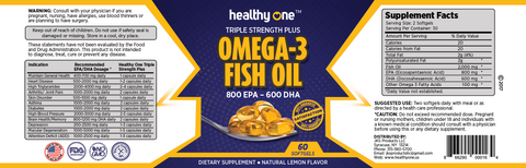 Omega 3 Fish Oil 800 EPA 600 DHA Triple Stength Plus