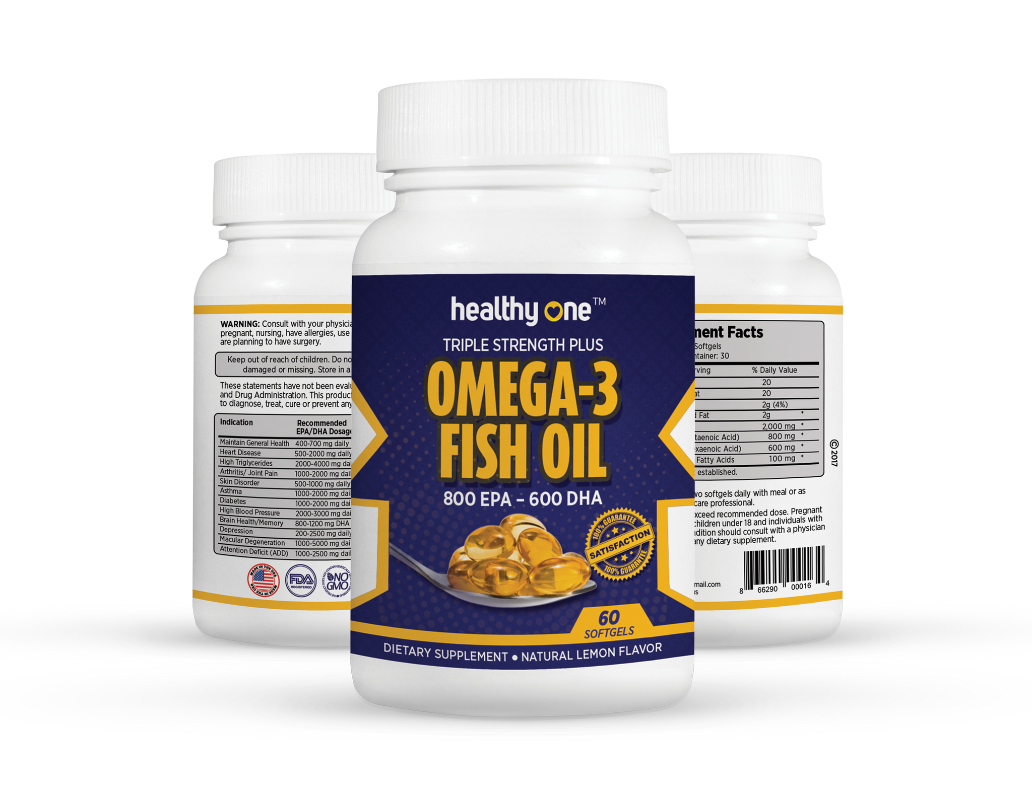 Omega 3 Fish Oil 800 EPA 600 DHA Triple Stength Plus 60 Gelcaps