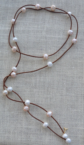 Leather and Pearls Double Wrap Necklace