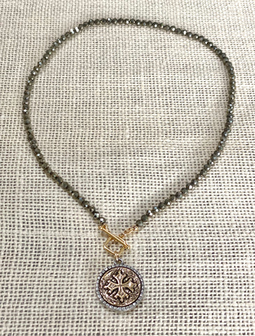 Cross Pendant Toggle Necklace