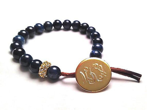 Monogram Button Gemstone Bracelet