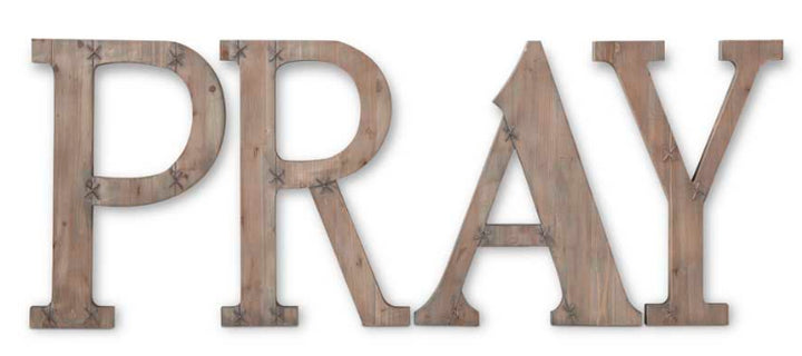 K&K Interiors Oversized Wooden Pray Wall Sign with Metal Detail