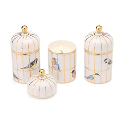 Gilded Cage Lidded Filled Candle with Lemon Verbena Scented Wax in Gift Box - Soy Wax ABT 20 Hrs/Porcelain