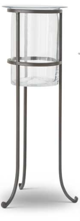 24.25 Inch Clear Glass Vase On Dark Metal Stand