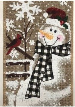 "2.5 "" x 10 yd Snowman with Cardinals Christmas Winter Wired Edge Ribbon- Natural"