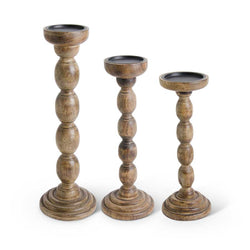 Set of 3 Brown Wood Spindle Candleholders
