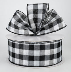 "2.5"" X 50yd Wired Woven Buffalo Plaid -wired edge (Black/White)"