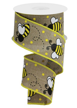 "2.5""X10yd Bumblebee On Royal Wired Edge Ribbon"