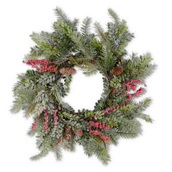 24 Inch Glittered Boxwood Berry Pinecone and Fir Wreath on Vine Bas