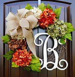 Hydrangea Wreath with Monogram Letter Option made of Orange, Green, Cream, and Brown Hydrangeas with Three Bow Options on Grapevine Base