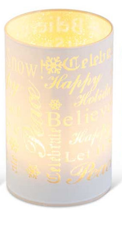 "5.75"" Matte White LED Glass Candle With Holiday Messages"
