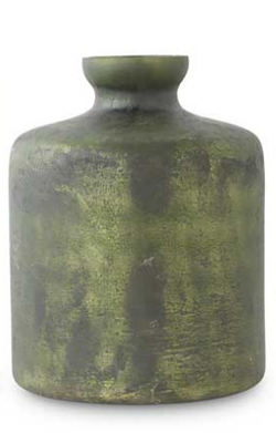 Antique Olive Green Matte Glass Bottle Vase-Medium w Large Neck