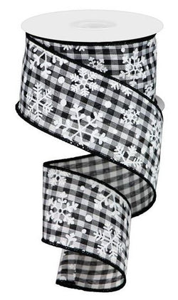 "2.5"" Snowflake Ribbon: Black & White Gingham Check (10 Yards) - Black White Christmas Halloween Wired Edge Ribbon"