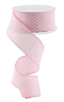 "1.5""X10yd Raised White Swiss Dots On Pink Royal Wired Ribbon"