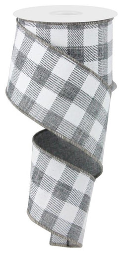 "2.5""X50yd Grey White Check On Royal Wired Edge Ribbon"