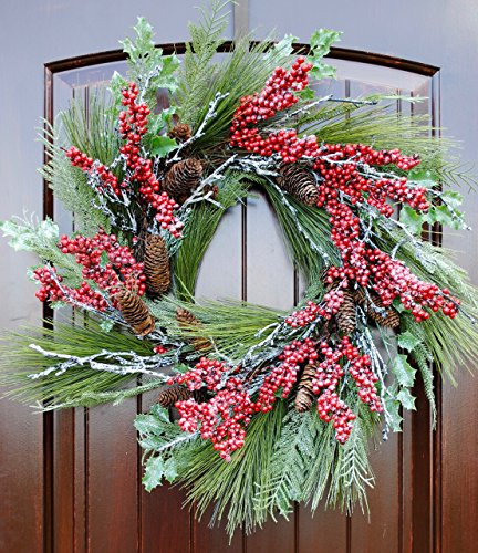 Christmas Wreath for Front Door with Pine, Red Berries and Iced Twigs in 22