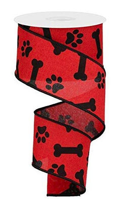 "Paw Print & Dog Bone Wired Edge Ribbon, 10 Yards (Red, Black, 2.5"")"