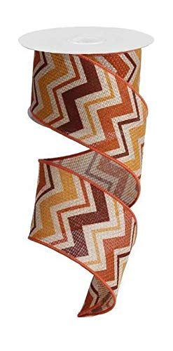 "Burgundy, Rust, Butternut Chevron Wire Edged Ribbon - 2.5"" x 10 yards"