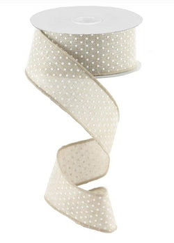 "1.5""X10 yd Raised Swiss Dots On Royal Wired Edge Ribbon"