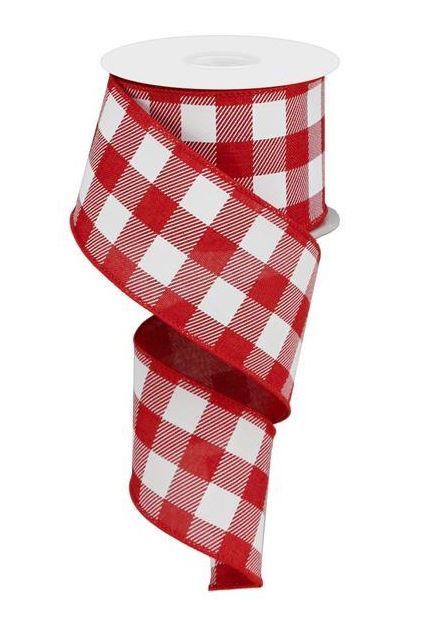 Plaid Check Wired Edge Ribbon - 10 Yards (Red, White, 2.5