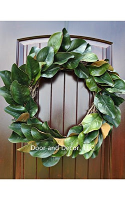 Handmade Magnolia Leaf Wreath for Front Door or Interior Home Decor in Multiple Sizes Farmhouse Style