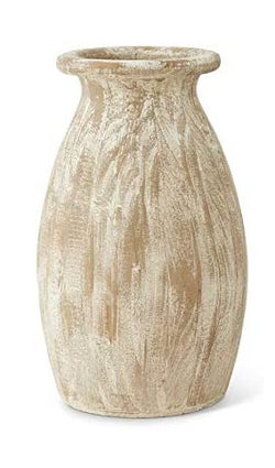 "12 Inch Wooden Vase with White Washed Finish-19"" Tall x 12"" Dia"
