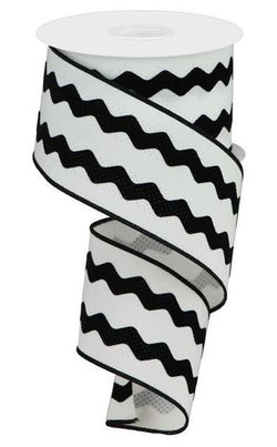 "2.5""X10yd Velvet Ricrac Black and White Wired Edge Ribbon"