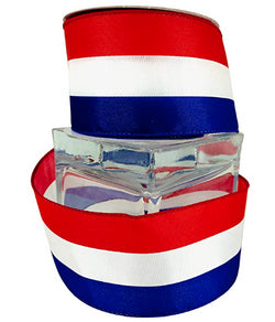 "Red White and Blue American Ribbon Stripe Wired 1.5-2.5""x10y Spool (2.5)"