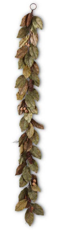 6 Feet Magnolia Pinecone and Nut Garland, Green