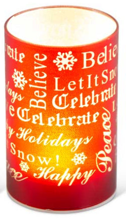 "5.75"" Matte Red LED Glass Candle With Holiday Messages"