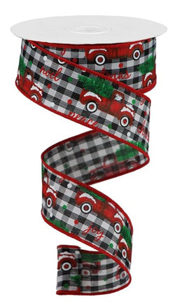 "Christmas Trucks Checked Ribbon: Black/White (1.5"" x 10 Yards) Red Farm Truck Ribbon"
