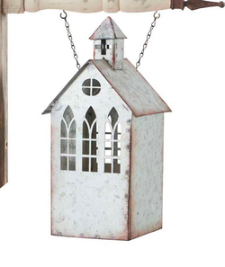 Galvanized Tin Church With Steeple and Cut Out Windows Candleholder Arrow Replacement