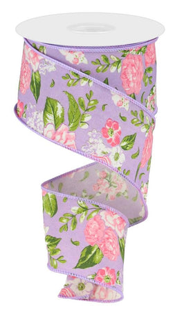"2.5""X10yd Floral Print on Lavender Wired Ribbon-Pink, Green, White, Purple"