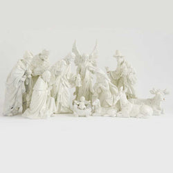 White Resin Sugared Nativity Set (12 Pieces)