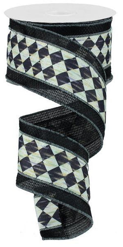 "2.5"" X 10 yd Antique Diamond With Cross Royal Black/Cream Mardi Gras Wired Edge Ribbon"
