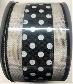 "2.5"" Wired Denim Dots Ribbon- Black and White-Wired Edge Ribbon"