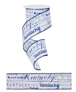 "2.5""X10yd Kentucky Print Wired Edge Ribbon"