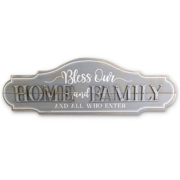 Graywash Wood and Metal HOME AND FAMILY Wall Sign-27.5