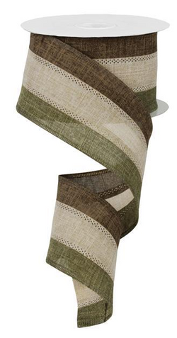 "2.5"" Wide Expressions Royal Canvas Tri-Color Striped Wired Ribbon Moss, Tan, Brown (10 Yards)"