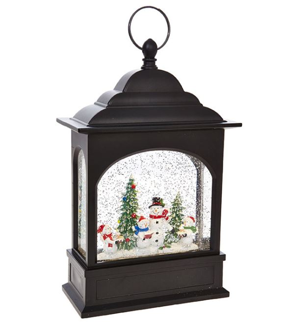 RAZ Imports Snowman Caroler Lighted Water Lantern Musical 11 Inch Lighted Christmas Snow Globe with Swirling Glitter