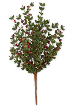 22 Inch Leafy Bush with Red Berries
