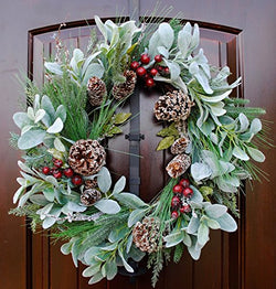 "Rustic Country Christmas Door Wreath with Lambs Ear, Red Berries, Frosted Pine Branches and Pine Cones on Grapevine Base in 22"" Diameter"